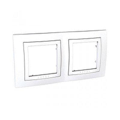 Рамка 2-ая MGU2.004.18 белаяUnica белый<br>Технические характеристикиЦвет: .Посты: 2.Модульность: 4.Размер: 80 х 136 мм.Степень защиты: IP40.Дополнительная информация:Материал - ASA + PC для декоративная рамка, ASA + PC для накладка<br><br>Оттенок (цвет): Белый