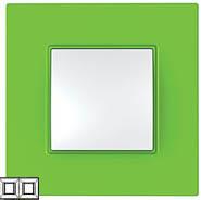 Рамка 2 поста киви Unica Quadro (Schneider Electric) MGU4.704.28Pамки Quadro<br>Технические характеристикиЦвет: Киви.Посты: 2.Модульность: 4.Размер: 158 х 87 мм.Степень защиты: IP40.Дополнительная информация:Материал - ASA + PC.<br><br>Оттенок (цвет): зеленый