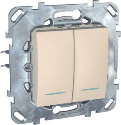 Переключатель 2-клавишный (сх.6+6) с подсветкой MGU5.0303.25NZDUnica бежевый<br>Технические характеристикиМеханизм: переключатель.Модульность: 2.Размеры: 70,9 х 70,9 мм.Степень защиты: IP40.Номинальное напряжение: 250 В~.Сечение провода: 2,5 мм2.Походящие накладки: все MGU6.002.хх.Дополнительная информация:Материал - ASA + PC для крышки механизма, сплав zamak для монт. рамы. С подсветкой.<br><br>Оттенок (цвет): Бежевый