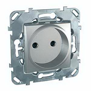 Unica Top Алюминий Розетка 1-ая б/з с защитными шторками винт. зажим MGU5.033.30ZDUnica TOP Алюминий<br>Технические характеристикиМеханизм: розетка без заземления, с защитными шторками.Цвет: алюминий.Степень защиты: IP20.Номинальное напряжение: 230 В.Сила тока: 16 А.Сечение провода: 2,5-4,0 кв. мм.Дополнительная информация:Розетка одинарная без заземления, с защитными шторками. Розетка питания устанавливается в монтажную коробку на винтах либо на распорных лапках. Материал - ударопрочный технополимер, не поддерживающий горение. Наружные части устойчивы к ультрафиолету.Клеммы для монтажа проводов расположены сбоку в один ряд, что упрощает монтаж изделия.<br><br>Оттенок (цвет): серебристый