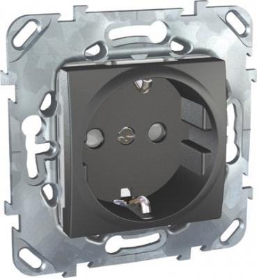 Unica Top Графит Розетка с/з со шторками, винтовой зажим MGU5.037.12ZDUnica TOP Графит<br>Технические характеристикиМеханизм: розетка с заземлением, с защитными шторками.Цвет: графит.Степень защиты: IP20.Номинальное напряжение: 230 В.Сила тока: 16 А.Сечение провода: 2,5-4,0 кв. мм.Дополнительная информация:Розетка одинарная с заземлением, с защитными шторками. Розетка питания устанавливается в монтажную коробку на винтах либо на распорных лапках. Материал - ударопрочный технополимер, не поддерживающий горение. Наружные части устойчивы к ультрафиолету.Клеммы для монтажа проводов расположены сбоку в один ряд, что упрощает монтаж изделия.<br><br>Оттенок (цвет): серый