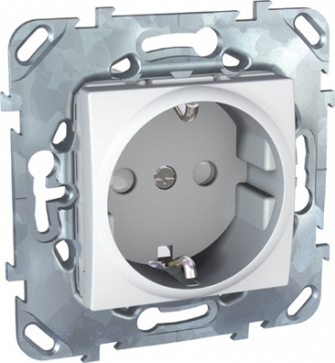Розетка 1-ая с с/з с защитными шторками винт. зажим MGU5.037.18ZDUnica белый<br>Технические характеристикиМеханизм: розетка.Модульность: 2.Размеры: 70,9 х 70,9 мм.Тип: силовая.Степень защиты: IP40.Сила тока: 16 А.Номинальное напряжение: 250 В~.Стандарт: UNE 20315.Тип зажима жил провода: винтовой зажим.Сечение провода: 4 мм2.Походящие накладки: все MGU6.002.ххДополнительная информация:С заземлением, с защитными шторками.<br><br>Оттенок (цвет): Белый