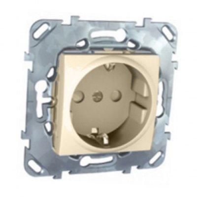 Розетка 1-ая с с/з с защитными шторками винт. зажим MGU5.037.25ZDUnica бежевый<br>Технические характеристикиМеханизм: розетка.Модульность: 2.Размеры: 70,9 х 70,9 мм.Тип: силовая.Степень защиты: IP40.Сила тока: 16 А.Номинальное напряжение: 250 В~.Стандарт: UNE 20315.Тип зажима жил провода: винтовой зажим.Сечение провода: 4 мм2.Походящие накладки: все MGU6.002.ххДополнительная информация:С заземлением, с защитными шторками.<br><br>Оттенок (цвет): Бежевый