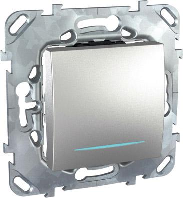 Unica Top Алюминий Выключатель 1-клавишный (сх.1) с подсветкой MGU5.201.30NZDUnica TOP Алюминий<br>Технические характеристикиМеханизм: выключатель одноклавишный с подсветкой.Цвет: алюминий.Степень защиты: IP20.Номинальное напряжение: 250 В.Сила тока: 10 А.Сечение провода: 2,5-4 кв.мм.Дополнительная информация:Одноклавишный выключатель с подсветкой - неоновой лампой, максимальная мощность неоновой лампы 1 мА.Материал ударопрочный, негорючий технополимер. Наружные части устойчивы к ультрафиолету. Механизм выключателя снабжен быстрозажимными контактами. Для упрощения подключения проводов фазы и нейтрали клеммы различаются по цвету.<br><br>Оттенок (цвет): серебристый