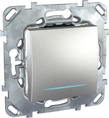 Unica Top Алюминий Переключатель перекрестный 1-клавишный (сх.7) с подсветкой MGU5.205.30NZDUnica TOP Алюминий<br>МОЖЕТ ИСПОЛЬЗОВАТЬСЯ КАК ВЫКЛЮЧАТЕЛЬ!<br>Технические характеристикиМеханизм: переключатель одноклавишный перекрестный с подсветкой.Цвет: алюминий.Степень защиты: IP20.Номинальное напряжение: 250 В.Сила тока: 10 А.Сечение провода: 2,5-4 кв.мм.Дополнительная информация:Переключатель одноклавишный перекрестный с лампой подсветки.Материал ударопрочный, негорючий технополимер. Наружные части устойчивы к ультрафиолету. Механизм выключателя снабжен быстрозажимными контактами. Для упрощенияподключения проводов фазы и нейтрали клеммы различаются по цвету.<br><br>Оттенок (цвет): серебристый