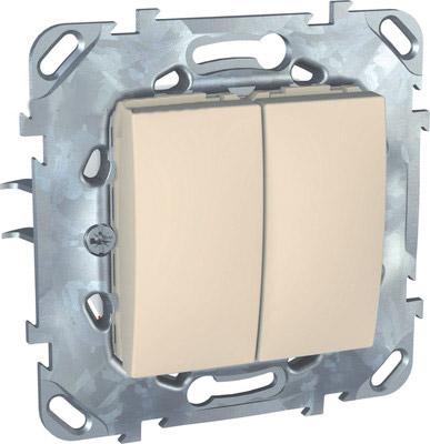 Выключатель 2-клавишный Unica бежевый (сх.5) MGU5.211.25ZDUnica бежевый<br>Технические характеристикиМеханизм: выключатель.Модульность: 2.Размеры: 70,9 х 70,9 мм.Степень защиты: IP40.Номинальное напряжение: 250 В~.Сечение провода: 2,5 мм2.Походящие накладки: все MGU6.002.хх.Дополнительная информация:Материал - цинковый сплав, схема 5.<br><br>Оттенок (цвет): Бежевый