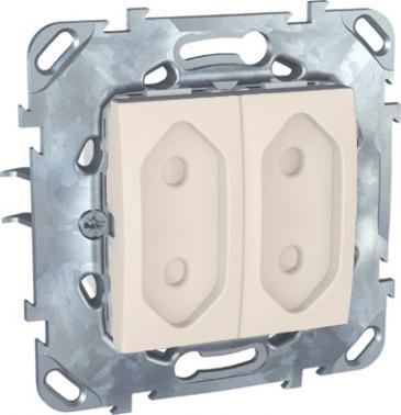 Розетка 2-ая, б/з, 10А, со шторками, для узких вилок MGU5.3131.25ZDUnica бежевый<br>Технические характеристикиМеханизм: розетка.Модульность: 2.Размеры: 90 х 123 мм.Тип: силовая.Степень защиты: IP40.Сила тока: 10 А.Номинальное напряжение: 250 В~.Стандарт: UNE 20315.Тип зажима жил провода: винтовой зажим.Сечение провода: 4 мм2.Походящие накладки: все MGU6.002.ххДополнительная информация:Без заземления, с защитными шторками, для узких вилок.<br><br>Оттенок (цвет): Бежевый