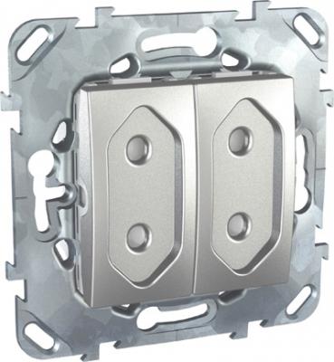 Unica Top Алюминий Розетка 2-ая, б/з, 10А, со шторками, для узких вилок MGU5.3131.30ZDUnica TOP Алюминий<br>Технические характеристикиМеханизм: розетка двойная без заземления, с защитными шторками.Цвет: алюминий.Степень защиты: IP20.Номинальное напряжение: 230 В.Сила тока: 10 А.Сечение провода: 2,5-4,0 кв. мм.Дополнительная информация:Розетка двойная без заземления, с защитными шторками, для узких вилок. Розетка питания устанавливается в монтажную коробку на винтах либо на распорных лапках. Материал - ударопрочный технополимер, не поддерживающий горение. Наружные части устойчивы к ультрафиолету.Клеммы для монтажа проводов расположены сбоку в один ряд, что упрощает монтаж изделия.<br><br>Оттенок (цвет): серебристый