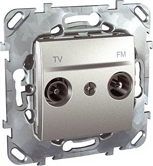 Unica Top Алюминий РозеткаTV-FM единственная MGU5.451.30ZDUnica TOP Алюминий<br>Технические характеристикиМеханизм: розетка TV-FM одиночная.Цвет: алюминий.Степень защиты: IP20.Сила тока: 8 А.Диаметр коннектора: 9,5 мм.Дополнительная информация:Розетка TV-FM одиночная. TV-FM розетки предназначены для подсоединения телевизионного кабеля и работы в диапазоне частот 47 - 860 МГц. На TV-выход (male) подается сигнал в диапазоне частот  47-860 МГц для подключения телеприемника. На FM-выход (female) подается сигнал в диапазоне частот 87-108 МГц для подключения радиоприемника. Конструкция розеток предусматривает правильное подсоединение коаксиального кабеля. Розетка имеет один вход для смешанного сигнала (TV, FM, TV-FM). В корпусе розетки встроен делитель сигнала. Корпус розетки выполнен из специального цинко-алюминиевого сплава Zamak, что обеспечивает электромагнитное экранирование<br><br>Оттенок (цвет): серебристый