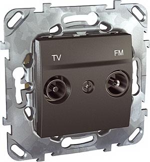 Unica Top Графит РозеткаTV-FM проходная MGU5.453.12ZDUnica TOP Графит<br>Технические характеристикиМеханизм: розетка TV-FM проходная.Цвет: графит.Степень защиты: IP20.Номинальное напряжение: 230 В.Сила тока: 8 А.Диаметр коннектора: 9,5 мм.Дополнительная информация:Розетка TV-FM проходная. TV-FM розетки предназначены для подсоединения телевизионного кабеля и работы в диапазоне частот 47 - 860 МГц. На TV-выход (male) подается сигнал в диапазоне частот  47-860 МГц для подключения телеприемника. На FM-выход (female) подается сигнал в диапазоне частот 87-108 МГц для подключения радиоприемника. Конструкция розеток предусматривает правильное подсоединение коаксиального кабеля. Розетка имеет один вход для смешанного сигнала (TV, FM, TV-FM). В корпусе розетки встроен делитель сигнала. Корпус розетки выполнен из специального цинко-алюминиевого сплава Zamak, что обеспечивает электромагнитное экранирование<br><br>Оттенок (цвет): серый