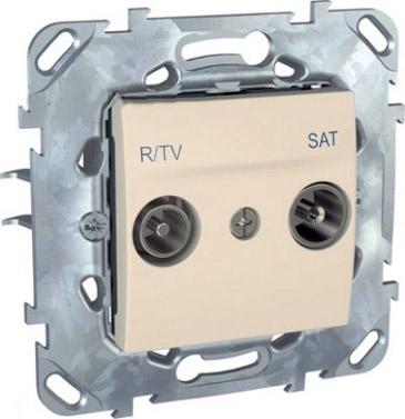 Розетка TV-SAT единственная MGU5.454.25ZDUnica бежевый<br>Технические характеристикиМодульность: 2.Размеры: 70,9 х 70,9 мм.ТВ разъем: Вилка IEC 9,52 мм.Степень защиты: IP20.Походящие накладки: все MGU6.002.ххДополнительная информация:Материал - ASA + PC для крышки механизма,сплав zamak для монт. рамы.<br><br>Оттенок (цвет): Бежевый