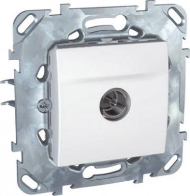 Розетка TV оконечная MGU5.464.18ZDUnica белый<br>Технические характеристикиМодульность: 2.Размеры: 70,9 х 70,9 мм.ТВ разъем: Вилка IEC 9,52 мм.Степень защиты: IP20.Походящие накладки: все MGU6.002.ххДополнительная информация:Материал - ASA + PC для крышки механизма,сплав zamak для монт. рамы.<br><br>Оттенок (цвет): Белый