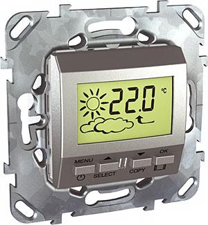 Метеостанция встраиваемая Unica Top алюминий MGU5.546.30ZDUnica TOP Алюминий<br>Технические характеристикиМеханизм: метеостанция.Цвет: алюминий.Степень защиты: IP20.Номинальное напряжение: 230 В.Дополнительная информация:Метеостанция позволяет измерить температуру и относительную влажность окружающего пространства и увидеть прогнозируемую погоду на следующий день. Символические обозначения предстоящей погоды появляются на экране за 12 - 24 часа до изменения метеоусловий.Прогноз погоды формируется на основе изменения атмосферного давления. Точность измерения (t, p, влажность) такого прогноза составляет около 70% с достоверностью около 75%. Прибор измеряет температуру воздуха в диапазоне от 0 до + 50С. Прибор измеряет относительную влажность в диапазоне 20-70%.<br><br>Оттенок (цвет): серебристый