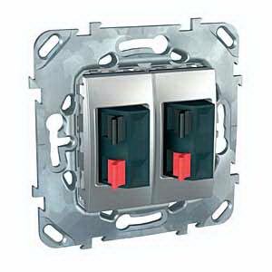 Unica Top Алюминий Аудиорозетка 2-ая MGU5.8787.30ZDUnica TOP Алюминий<br>Технические характеристикиМеханизм: аудиорозетка двойная.Цвет: алюминий.Степень защиты: IP20.Номинальное напряжение: 250 В.Сила тока: 10 А.<br><br>Тип товара: розетка аудио<br>Оттенок (цвет): серебристый