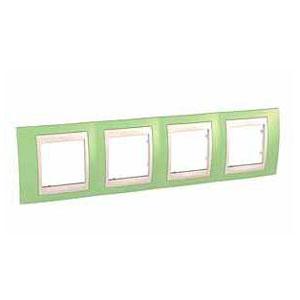 Рамка 4-ая гориз MGU6.008.563Unica Хамелеон<br>Технические характеристикиЦвет: Зеленое яблоко/бежевый.Посты: 4.Модульность: 8.Размер: 80 х 303 мм.Степень защиты: IP40.Дополнительная информация:Материал - пластик. Горизонтальная установка.<br><br>Тип товара: Рамка<br>Оттенок (цвет): Зеленый
