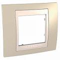 Рамка Unica хамелеон 1-ая MGU6.002.567Unica Хамелеон<br>Технические характеристикиЦвет: Песчаный/бежевый.Посты: 1.Модульность: 2.Размер: 80 х 90 мм.Степень защиты: IP40.Дополнительная информация:Материал - пластик.<br><br>Оттенок (цвет): коричневый