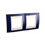 Рамка 2-ая горизонтальная MGU6.004.542 Индиго/бежевыйUnica Хамелеон<br>Технические характеристикиЦвет: Индиго/бежевый.Посты: 2.Модульность: 4.Размер: 80 х 161 мм.Степень защиты: IP40.Дополнительная информация:Материал - пластик. Горизонтальная установка.<br><br>Оттенок (цвет): синий