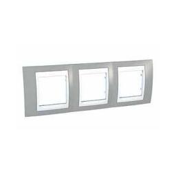 Рамка 3-ая гориз серый/белый MGU6.006.865Unica Хамелеон<br>Технические характеристикиЦвет: Серый/белый.Посты: 3.Модульность: 6.Размер: 80 х 232 мм.Степень защиты: IP40.Дополнительная информация:Материал - пластик. Горизонтальная установка.<br><br>Оттенок (цвет): серый