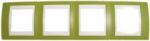 Рамка 4-ая горизонтальная MGU6.008.566 Фисташковый/бежевыйUnica Хамелеон<br>Технические характеристикиЦвет: Фисташковый/бежевый.Посты: 4.Модульность: 8.Размер: 80 х 303 мм.Степень защиты: IP40.Дополнительная информация:Материал - пластик. Горизонтальная установка.<br><br>Оттенок (цвет): зеленый