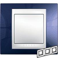 Рамка 3-ая гориз MGU6.006.842 Индиго/БелыйUnica Хамелеон<br>Технические характеристикиЦвет: Индиго/белый.Посты: 3.Модульность: 6.Размер: 80 х 232 мм.Степень защиты: IP40.Дополнительная информация:Материал - пластик. Горизонтальная установка.<br><br>Оттенок (цвет): синий