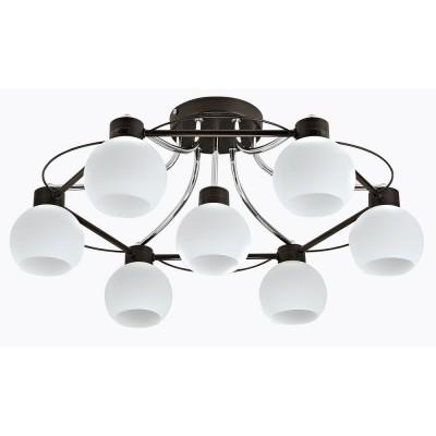 Люстра Maytoni MOD010-CL-07-N Berryсовременные потолочные люстры модерн<br><br><br>S освещ. до, м2: 21<br>Тип лампы: накаливания / энергосбережения / LED-светодиодная<br>Тип цоколя: E14<br>Цвет арматуры: Хром серебристый + Венге<br>Количество ламп: 7<br>Диаметр, мм мм: 605<br>Высота, мм: 245<br>MAX мощность ламп, Вт: 60