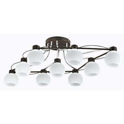 Люстра Maytoni MOD010-CL-09-N Berryсовременные потолочные люстры модерн<br><br><br>S освещ. до, м2: 27<br>Тип лампы: накаливания / энергосбережения / LED-светодиодная<br>Тип цоколя: E14<br>Цвет арматуры: Хром серебристый + Венге<br>Количество ламп: 9<br>Ширина, мм: 955<br>Глубина, мм: 595<br>Высота, мм: 260<br>MAX мощность ламп, Вт: 60
