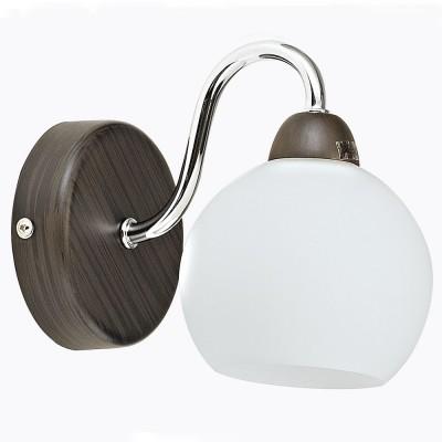 Бра Maytoni MOD010-WL-01-N BerryСовременные<br><br><br>Тип лампы: Накаливания / энергосбережения / светодиодная<br>Тип цоколя: E14<br>Цвет арматуры: Хром серебристый + Венге<br>Количество ламп: 1<br>Ширина, мм: 105<br>Глубина, мм: 165<br>Высота, мм: 185<br>MAX мощность ламп, Вт: 60
