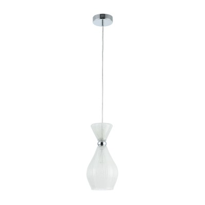Люстра Maytoni MOD249-PL-01-FW BariОдиночные<br><br><br>Тип лампы: Накаливания / энергосбережения / светодиодная<br>Тип цоколя: E14<br>Цвет арматуры: Хром серебристый<br>Количество ламп: 1<br>Диаметр, мм мм: 150<br>Высота полная, мм: 1300<br>Высота, мм: 300<br>MAX мощность ламп, Вт: 40