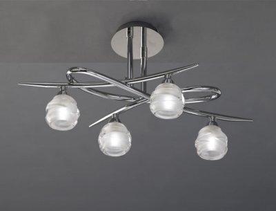Люстра Mantra 1803 LOOPПотолочные<br><br><br>Установка на натяжной потолок: Ограничено<br>S освещ. до, м2: 8<br>Крепление: Планка<br>Тип товара: Люстра<br>Тип лампы: галогенная / LED-светодиодная<br>Тип цоколя: G9<br>Количество ламп: 4<br>Ширина, мм: 335<br>MAX мощность ламп, Вт: 33<br>Размеры: L 520  W 335  H 220<br>Длина, мм: 520<br>Высота, мм: 220<br>Цвет арматуры: серебристый хром