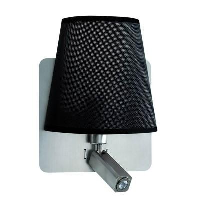 Настенный светильник бра Mantra 5231 BAHIAсовременные бра модерн<br><br><br>Тип цоколя: E27/LED<br>Цвет арматуры: серебристый никель<br>Количество ламп: 2<br>Ширина, мм: 200<br>Расстояние от стены, мм: 235<br>Высота, мм: 366