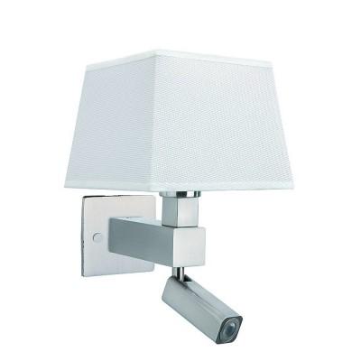 Настенный светильник бра Mantra 5234+5239+5170 BAHIAсовременные бра модерн<br><br><br>Тип цоколя: E27/LED<br>Цвет арматуры: серебристый никель<br>Количество ламп: 2<br>Ширина, мм: 200<br>Расстояние от стены, мм: 215<br>Высота, мм: 334