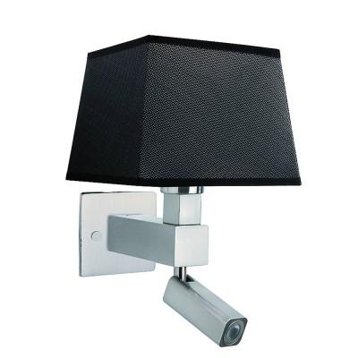 Настенный светильник бра Mantra 5234+5240+5170 BAHIAСовременные<br><br><br>Тип цоколя: E27/LED<br>Цвет арматуры: серебристый никель<br>Количество ламп: 2<br>Ширина, мм: 200<br>Расстояние от стены, мм: 215<br>Высота, мм: 334