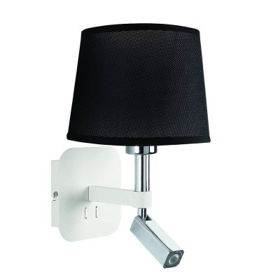 Настенный светильник бра Mantra 5316+5238 HABANAсовременные бра модерн<br><br><br>Тип цоколя: E27/LED<br>Цвет арматуры: белый<br>Количество ламп: 2<br>Ширина, мм: 200<br>Расстояние от стены, мм: 235<br>Высота, мм: 366