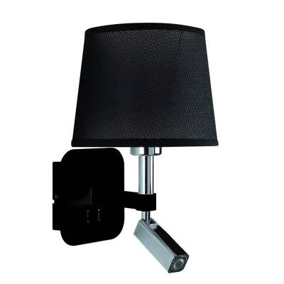 Настенный светильник бра Mantra 5317+5238 HABANAсовременные бра модерн<br><br><br>Тип цоколя: E27/LED<br>Цвет арматуры: черный / серебристый хром<br>Количество ламп: 2<br>Ширина, мм: 200<br>Расстояние от стены, мм: 235<br>Высота, мм: 366