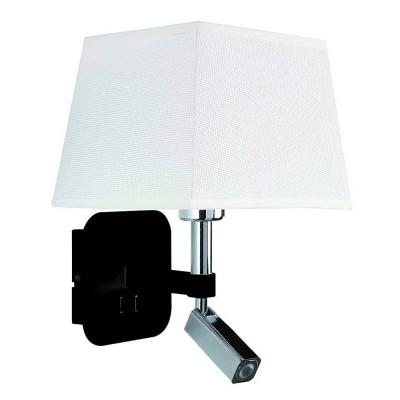 Настенный светильник бра Mantra 5317+5239 HABANAсовременные бра модерн<br><br><br>Тип цоколя: E27/LED<br>Цвет арматуры: черный / серебристый хром<br>Количество ламп: 2<br>Ширина, мм: 200<br>Расстояние от стены, мм: 235<br>Высота, мм: 366