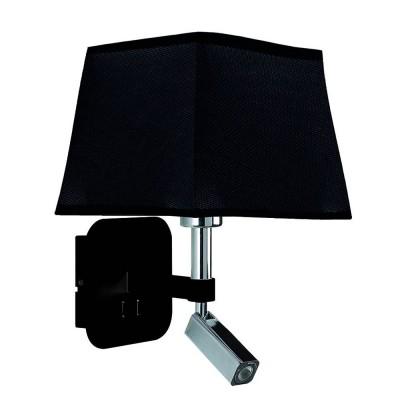 Настенный светильник бра Mantra 5317+5240 HABANAсовременные бра модерн<br><br><br>Тип цоколя: E27/LED<br>Цвет арматуры: черный / серебристый хром<br>Количество ламп: 2<br>Ширина, мм: 200<br>Расстояние от стены, мм: 235<br>Высота, мм: 366