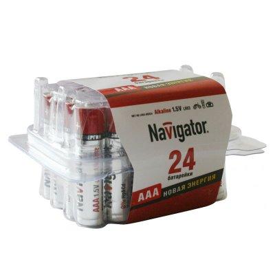 Мизинчиковые батарейки AAA Navigator 94 787 NBT-NE-LR03-BOX24штМизинчиковые AAA<br>Элементы питания Navigator серии «Новая энергия» – щелочная <br>батарейка, обладающая высокими техническими характеристиками которая <br>идеально подходит как для устройств с высоким и средним <br>энергопотреблением, так и для устройств с низким потреблением    <br><br>Мощный и высокопроизводительный источник энергии,<br>Срок предэксплуатационного хранения – 5 лет,<br>Диапазон рабочих температур от – 30°C до +60°C,<br>Выпускаемые типоразмеры LR6(AA), LR03(AAA), LR14(C), LR20(D), 6LR61.<br>