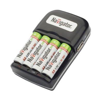 Зарядное устройство Navigator 94 473 NCH-404USBзарядные устройства для батареек<br>Возможность заряда 2 или 4 AA/AAA Ni-MH аккумуляторов  Автоматическое отключение по –bs000933453<br><br>Ширина, мм: 70<br>Длина, мм: 65<br>Высота, мм: 190