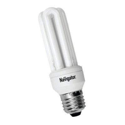 Лампа энергосберегающая Navigator 94 026 NCL-3U-15-860-E27Спираль 3U<br>Navigator NCL-3U – компактная энергосберегающая лампа. Колба лампы состоит из трех U-образных люминесцентных трубок диаметром 9мм. Лампа NCL-3U поставляется в трех цветовых температурах (2700K, 4200K, 6400K). Лампа NCL-3U 11Вт предлагается с двумя типоразмерами цоколя (E14 и E27). Лампа NCL-3U 15Вт и 20Вт только с цоколем E27.<br><br>Цветовая t, К: CW - дневной белый 6000 К<br>Тип лампы: Энергосберегающая<br>Тип цоколя: E27<br>MAX мощность ламп, Вт: 15<br>Диаметр, мм мм: 38<br>Высота, мм: 126<br>Оттенок (цвет): дневной белый свет