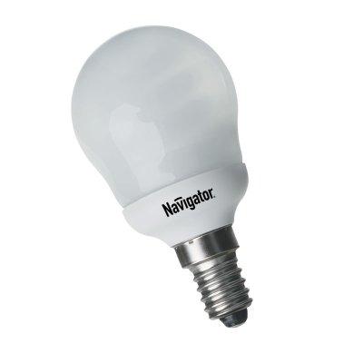 Лампа энергосберегающая Navigator 94 082 NCL-G45-09-827-E14В виде шарика<br>Navigator NCL-G – компактная люминесцентная энергосберегающая лампа. Колба лампы представляет собой шар, изготовленный из матового стекла диаметром 45 мм, 70 мм, 95 мм и 105 мм. Люминесцентная трубка, скрытая в матовой пластиковой колбе, дает особенно мягкий свет. Лампа NCL-G поставляется в цветовой температуре 2700 K (теплый белый свет). Лампа NCL-G45 мощностью 9 Вт предлагается с двумя типоразмерами цоколя: E14 и E27, лампы NCL-G70, NCL-G95 мощностью 13 Вт и NCL-G105 мощностью 23 Вт – только с цоколем E27. Люминесцентные трубки ламп Navigator NCL-G изготовлены с использованием «амальгамной технологии». Использование трубок такого типа необходимо в компактных люминесцентных лампах с декоративной колбой типа «рефлектор», «шар», «свеча» и другими. «Амальгамная технология» позволяет получить меньшую температурную зависимость светового потока таких ламп, большие абсолютные значения светового потока, а также несколько увеличить срок службы ламп с декоративной колбой. Лампам, изготовленным по «амальгамной технологии», нужно больше времени для выхода на рабочий режим, чем обычным компактным люминесцентным лампам с «плавным стартом». Срок службы составляет 10000 часов.<br><br>Тип товара: лампа освещения<br>Цветовая t, К: WW - теплый белый 2700-3000 К<br>Тип лампы: Энергосберегающая<br>Тип цоколя: E14<br>MAX мощность ламп, Вт: 9<br>Диаметр, мм мм: 45<br>Высота, мм: 85