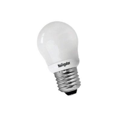 Лампа энергосберегающая Navigator 94 083 NCL-G45-09-827-E27В виде шарика<br>Navigator NCL-G – компактная люминесцентная энергосберегающая лампа. Колба лампы представляет собой шар, изготовленный из матового стекла диаметром 45 мм, 70 мм, 95 мм и 105 мм. Люминесцентная трубка, скрытая в матовой пластиковой колбе, дает особенно мягкий свет. Лампа NCL-G поставляется в цветовой температуре 2700 K (теплый белый свет). Лампа NCL-G45 мощностью 9 Вт предлагается с двумя типоразмерами цоколя: E14 и E27, лампы NCL-G70, NCL-G95 мощностью 13 Вт и NCL-G105 мощностью 23 Вт – только с цоколем E27. Люминесцентные трубки ламп Navigator NCL-G изготовлены с использованием «амальгамной технологии». Использование трубок такого типа необходимо в компактных люминесцентных лампах с декоративной колбой типа «рефлектор», «шар», «свеча» и другими. «Амальгамная технология» позволяет получить меньшую температурную зависимость светового потока таких ламп, большие абсолютные значения светового потока, а также несколько увеличить срок службы ламп с декоративной колбой. Лампам, изготовленным по «амальгамной технологии», нужно больше времени для выхода на рабочий режим, чем обычным компактным люминесцентным лампам с «плавным стартом». Срок службы составляет 10000 часов.<br><br>Цветовая t, К: WW - теплый белый 2700-3000 К<br>Тип лампы: Энергосберегающая<br>Тип цоколя: E27<br>MAX мощность ламп, Вт: 9<br>Диаметр, мм мм: 45<br>Высота, мм: 85