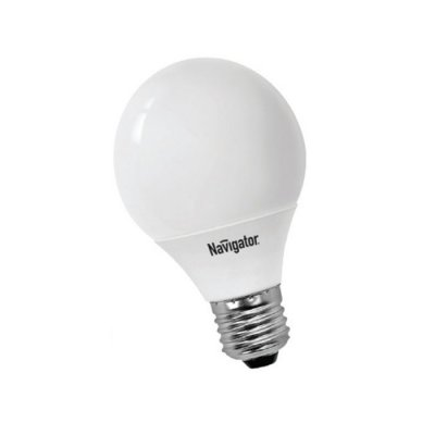 Лампа энергосберегающая Navigator 94 060 NCL-G70-13-827 E27В виде шарика<br>Navigator NCL-G – компактная люминесцентная энергосберегающая лампа. Колба лампы представляет собой шар, изготовленный из матового стекла диаметром 45 мм, 70 мм, 95 мм и 105 мм. Люминесцентная трубка, скрытая в матовой пластиковой колбе, дает особенно мягкий свет. Лампа NCL-G поставляется в цветовой температуре 2700 K (теплый белый свет). Лампа NCL-G45 мощностью 9 Вт предлагается с двумя типоразмерами цоколя: E14 и E27, лампы NCL-G70, NCL-G95 мощностью 13 Вт и NCL-G105 мощностью 23 Вт – только с цоколем E27. Люминесцентные трубки ламп Navigator NCL-G изготовлены с использованием «амальгамной технологии». Использование трубок такого типа необходимо в компактных люминесцентных лампах с декоративной колбой типа «рефлектор», «шар», «свеча» и другими. «Амальгамная технология» позволяет получить меньшую температурную зависимость светового потока таких ламп, большие абсолютные значения светового потока, а также несколько увеличить срок службы ламп с декоративной колбой. Лампам, изготовленным по «амальгамной технологии», нужно больше времени для выхода на рабочий режим, чем обычным компактным люминесцентным лампам с «плавным стартом». <br>Срок службы составляет 10000 часов. лем E27.<br><br>Цветовая t, К: WW - теплый белый 2700-3000 К<br>Тип лампы: Энергосберегающая<br>Тип цоколя: E27<br>MAX мощность ламп, Вт: 13<br>Диаметр, мм мм: 70<br>Длина, мм: 115