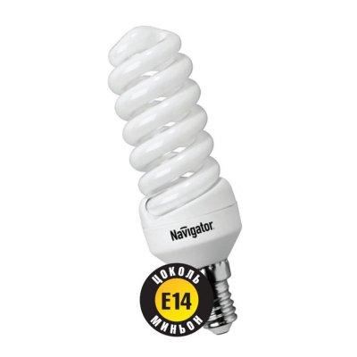 Лампа энергосберегающая Navigator 94 096 NCL-SF10-07-840-E14Спиральные<br>Navigator NCL-SF10 – компактная люминесцентная энергосберегающая лампа. Колба лампы представляет собой полную спираль, изготовленную из люминесцентной трубки диаметром 7 мм (T2). При изготовлении трубки используется высококачественный трехполосный люминофор, что обеспечивает превосходное качество света и высокую светоотдачу ламп. Лампа NCL-SF10 мощностью 9, 11 и 15 Вт поставляется в трех цветовых температурах: 2700 К, 4000 К и 6500 К, а лампа NCL-SF10 мощностью 7 Вт только в двух: 2700 К и 4000 К. Лампы NCL-SF10 7 Вт и 9 Вт предлагаются с цоколем Е14, NCL-SF10 11 и 15 Вт с двумя типоразмерами цоколя: Е14 и Е27. Лампы Navigator NCL-SF10 не предназначены для использования с регуляторами светового потока (диммерами).  Лампа NCL-SF10 мощностью 20 Вт поставляется в трех цветовых температурах: 2700 К, 4000 К и 6500 К с двумя типоразмерами цоколя: Е14 и Е27. Лампы Navigator NCL-SF10 не предназначены для использования с регуляторами светового потока (диммерами).  Срок службы ламп NCL-SF10 составляет 10000 часов. Люминесцентные трубки ламп Navigator NCL-SF10-15 изготовлены с использованием «амальгамной технологии».<br><br>Цветовая t, К: CW - холодный белый 4000 К<br>Тип лампы: Энергосберегающая<br>Тип цоколя: E14<br>MAX мощность ламп, Вт: 7<br>Диаметр, мм мм: 34<br>Высота, мм: 84