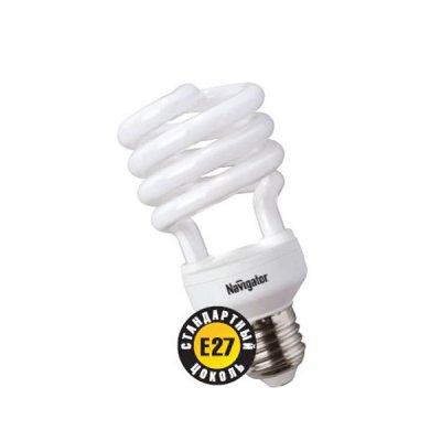 Лампа энергосберегающая Navigator 94 052 NCL-SH-25-827-E27Спиральные<br>Navigator NCL-SH10 – компактная люминесцентная энергосберегающая лампа. Колба новой лампы NCL-SH10 15 Вт представляет собой полуспираль, изготовленную из люминесцентной трубки диаметром 7 мм (T2), трубки диаметром 9 мм в лампах мощностью 20 Вт и 25 Вт, 12 мм в лампах мощностью 30 Вт. При изготовлении трубки используется высококачественный трехполосный люминофор, что обеспечивает превосходное качество света и высокую светоотдачу ламп. Лампа NCL-SH10 15 Вт поставляется в трех цветовых температурах: 2700 К, 4000 К, 6500 K с двумя типоразмерами цоколя: Е14 и Е27. Лампы NCL-SH10 20Вт, 25Вт, 30Вт поставляется со стандартным цоколем E27. Лампы Navigator NCL-SH10 не предназначены для использования с регуляторами светового потока (диммерами). Срок службы ламп NCL-SH10 составляет 10000 часов.<br><br>Тип товара: Компактная люминесцентная лампа (клл)<br>Цветовая t, К: WW - теплый белый 2700-3000 К<br>Тип лампы: Энергосберегающая<br>Тип цоколя: E27<br>MAX мощность ламп, Вт: 25<br>Диаметр, мм мм: 55<br>Высота, мм: 119