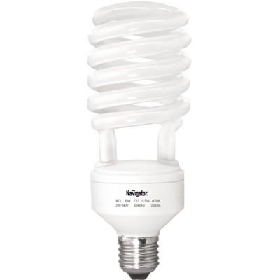 Лампа энергосберегающая Navigator 94 077 NCL-4U-45-840-E27Спиральные<br>Колба лампы NCL-SH индустриальной серии представляет собой полуспираль, изготовленную из люминесцентной трубки диаметром 11 мм в лампах мощностью 45 Вт. и 55 Вт., 16 мм в лампах мощностью 85 Вт. и 105 Вт. Лампы NCL-SH поставляются с цоколем Е27, мощностью 45 Вт. и 55 Вт., с цоколем E40, мощностью 85 Вт. и 105 Вт. и представлены в цветовой температуре 4000К. Лампы мощностью 105 Вт. в данный момент поставляются в колбе 6U. Лампы в новой колбе SH будут доступны после распродажи текущей версии. Лампы NCL-8U индустриальной серии поставляются с цоколем E40, в цветовой температуре 4000 К, двух мощностей: 150 Вт и 200 Вт.  Конструктивными особенностями индустриальных ламп Navigator NCL-SH являются максимальный световой поток при температуре окружающей среды +10 С, малая температурная зависимость светового потока и высокая надежность ламп.<br><br>Цветовая t, К: CW - холодный белый 4000 К<br>Тип лампы: Энергосберегающая<br>Тип цоколя: E27<br>MAX мощность ламп, Вт: 45,0