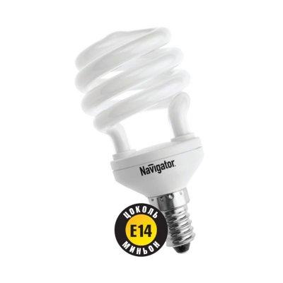 Лампа энергосберегающая Navigator 94 043 NCL-SH10-15-827-E14Спиральные<br>Navigator NCL-SH10 – компактная люминесцентная энергосберегающая лампа. Колба новой лампы NCL-SH10 15 Вт представляет собой полуспираль, изготовленную из люминесцентной трубки диаметром 7 мм (T2), трубки диаметром 9 мм в лампах мощностью 20 Вт и 25 Вт, 12 мм в лампах мощностью 30 Вт. При изготовлении трубки используется высококачественный трехполосный люминофор, что обеспечивает превосходное качество света и высокую светоотдачу ламп. Лампа NCL-SH10 15 Вт поставляется в трех цветовых температурах: 2700 К, 4000 К, 6500 K с двумя типоразмерами цоколя: Е14 и Е27. Лампы NCL-SH10 20Вт, 25Вт, 30Вт поставляется со стандартным цоколем E27.  Лампы Navigator NCL-SH10 не предназначены для использования с регуляторами светового потока (диммерами).  Срок службы ламп NCL-SH10 составляет 10000 часов.<br><br>Цветовая t, К: WW - теплый белый 2700-3000 К<br>Тип лампы: Энергосберегающая<br>Тип цоколя: E14<br>Диаметр, мм мм: 48<br>Высота, мм: 98<br>MAX мощность ламп, Вт: 15