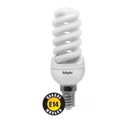 Лампа энергосберегающая Navigator 94 099 NCLP-SF-11-840-E14Спиральные<br>NCLP-SF – «Промо серия» энергосберегающих ламп, предназначенная для проведения промо-акций в розничных точках продаж. Также рекомендована к использованию для нужд жилищно-коммунального хозяйства: освещения подъездов и подвалов домов, складов, гаражей, хозяйственных помещений, для наружного освещения в закрытых светильниках. Колба лампы NCLP-SF представляет собой полную спираль, изготовленную из люминесцентной трубки диаметром 7 мм. Лампы NCLP-SF представлены в трех цветовых температурах: теплого белого света 2700 K, холодного белого света 4000 K и дневного белого – 6500 К.  Лампы NCLP-SF поставляются с двумя типоразмерами цоколя: Е14 и E27. Срок службы ламп NCLP-SF составляет 8000 часов.<br><br>Цветовая t, К: CW - холодный белый 4000 К<br>Тип лампы: Энергосберегающая<br>Тип цоколя: E14<br>Диаметр, мм мм: 35<br>Длина, мм: 106<br>MAX мощность ламп, Вт: 11