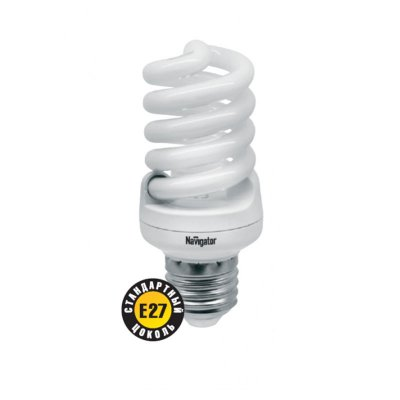 Лампа энергосберегающая Navigator 94 373 NCLP-SF-15-860-E27Спиральные<br>NCLP-SF – «Промо серия» энергосберегающих ламп, предназначенная для проведения промо-акций в розничных точках продаж. Также рекомендована к использованию для нужд жилищно-коммунального хозяйства: освещения подъездов и подвалов домов, складов, гаражей, хозяйственных помещений, для наружного освещения в закрытых светильниках. Колба лампы NCLP-SF представляет собой полную спираль, изготовленную из люминесцентной трубки диаметром 7 мм. Лампы NCLP-SF представлены в трех цветовых температурах: теплого белого света 2700 K, холодного белого света 4000 K и дневного белого – 6500 К.  Лампы NCLP-SF поставляются с двумя типоразмерами цоколя: Е14 и E27. Срок службы ламп NCLP-SF составляет 8000 часов.<br><br>Цветовая t, К: CW - дневной белый 6000 К<br>Тип лампы: Энергосберегающая<br>Тип цоколя: E27<br>MAX мощность ламп, Вт: 15<br>Диаметр, мм мм: 42<br>Длина, мм: 103