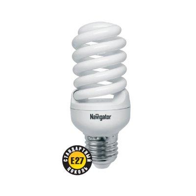 Лампа энергосберегающая Navigator 94 374 NCLP-SF-20-860-E27Спиральные<br>NCLP-SF – «Промо серия» энергосберегающих ламп, предназначенная для проведения промо-акций в розничных точках продаж. Также рекомендована к использованию для нужд жилищно-коммунального хозяйства: освещения подъездов и подвалов домов, складов, гаражей, хозяйственных помещений, для наружного освещения в закрытых светильниках. Колба лампы NCLP-SF представляет собой полную спираль, изготовленную из люминесцентной трубки диаметром 7 мм. Лампы NCLP-SF представлены в трех цветовых температурах: теплого белого света 2700 K, холодного белого света 4000 K и дневного белого – 6500 К.  Лампы NCLP-SF поставляются с двумя типоразмерами цоколя: Е14 и E27. Срок службы ламп NCLP-SF составляет 8000 часов.<br><br>Цветовая t, К: CW - дневной белый 6000 К<br>Тип лампы: Энергосберегающая<br>Тип цоколя: E27<br>MAX мощность ламп, Вт: 20<br>Диаметр, мм мм: 46<br>Длина, мм: 113