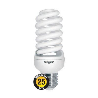 Лампа энергосберегающая Navigator 94 356 NCLP-SF-25-840-E27Спиральные<br>NCLP-SF – «Промо серия» энергосберегающих ламп, предназначенная для проведения промо-акций в розничных точках продаж. Также рекомендована к использованию для нужд жилищно-коммунального хозяйства: освещения подъездов и подвалов домов, складов, гаражей, хозяйственных помещений, для наружного освещения в закрытых светильниках. Колба лампы NCLP-SF представляет собой полную спираль, изготовленную из люминесцентной трубки диаметром 7 мм. Лампы NCLP-SF представлены в трех цветовых температурах: теплого белого света 2700 K, холодного белого света 4000 K и дневного белого – 6500 К.  Лампы NCLP-SF поставляются с двумя типоразмерами цоколя: Е14 и E27. Срок службы ламп NCLP-SF составляет 8000 часов.<br><br>Цветовая t, К: CW - холодный белый 4000 К<br>Тип лампы: Энергосберегающая<br>Тип цоколя: E27<br>MAX мощность ламп, Вт: 25<br>Диаметр, мм мм: 46<br>Длина, мм: 123